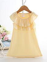 vestido blanco / amarillo, sólido del algodón del verano del bebé