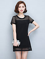 Women's Plus Size Simple Sheath Dress,Patchwork Round Neck Above Knee Short Sleeve White / Black Polyester Summer