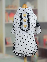 Dog Clothes/Jumpsuit White Dog Clothes Spring/Fall Polka Dots Cute / Fashion