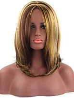 moda multicolor longitud media pelucas sintéticas cosplay recta