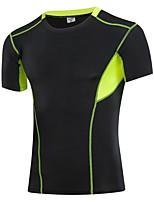 Carrera Camiseta Hombres Secado rápido / Reductor del Sudor Running Deportes Ropa deportiva Blanco / Gris / Azul