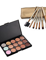 15 Color Contour Face Cream Makeup Concealer Palette #1+ 7PC Golden Brush Set