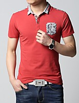 Men's Fashion Slim Pocket Decorative Cotton Short Sleeved Polo Shirt,Cotton / Polyester Casual Color Block