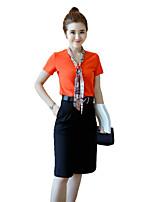 Women's Solid White / Orange T-shirt,V Neck Short Sleeve