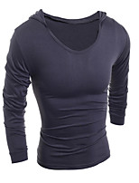 Men's Long Sleeve T-Shirt Hooded,Cotton Casual Solid k201