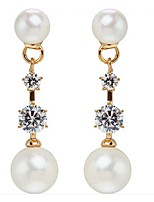 Star with a zircon pearl long earrings earrings