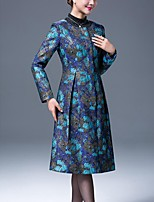 Women's Party/Cocktail Simple Trench Coat,Print Round Neck Long Sleeve Fall Blue Polyester Thick
