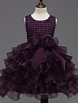 Girl's Purple Dress,Solid Polyester Summer