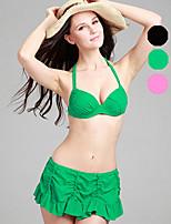 Venus queen Plus Size Women's Halter Bikini /Three-piece,Ruffle / Solid Nylon / Spandex Green / Black / Coral