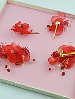 Damen Künstliche Perle / Stoff Kopfschmuck-Hochzeit / Besondere Anlässe Blumen / Haarclip 4 Stück