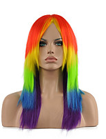 Multi-color Red and Yellow and Green and Blue and Black Color Middle Long Straight Synthetic Cosplay Wig