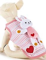 Lovely Heart Strip Pet Fleece Coat with Rabbit Toy