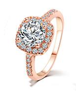 Inlaid Zircon Fashion Jewelry Square Diamond Bridal Jewelry Engagement Rings