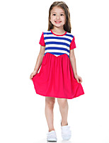 Girl's Blue / Pink Dress,Striped Cotton Summer