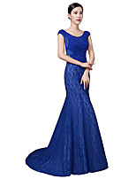 Formal Evening Dress Trumpet / Mermaid Scoop Sweep / Brush Train Lace / Stretch Satin with Crystal Detailing