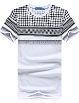 Men's Print Casual / Sport T-ShirtCotton Short Sleeve-White