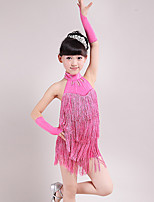 Latin Dance Dresses Children's Performance Spandex Halter Backless Tassel(s) 3 Pieces Dance Costumes