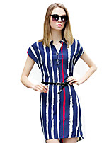 Women's Simple / Street chic Striped Chiffion Hin Thin Casual Plus Size / Sheath Dress,V Neck Above Knee