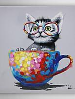 pintado a mano la pintura al óleo de los animales se sentó en la taza con el marco estirado Arts® 7 de pared