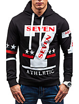 Men's Sports Going out Casual/Daily Simple Active Street chic Hoodie Print Letter Hooded Micro-elastic Cotton Polyester SpandexLong