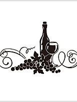 Still Life Decorative Wall Stickers Grapes Wine,vinyl Material Removable Home Decoration Wall Decal