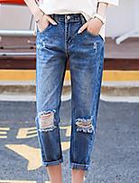 De las mujeres Pantalones Vaquero-Chic de Calle Rígido-Algodón