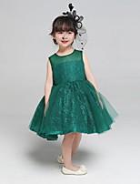 볼 드레스 무릎 길이 플라워 걸 드레스 - 레이스 / 튤 민소매 쥬얼리 와