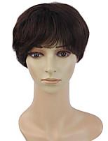 pelo corto peluca de pelo recto 100 del cabello humano en la peluca mullida temperamento ancianos