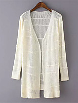 Women's Solid White / Beige / Brown / Gray Cardigan,Street chic Long Sleeve