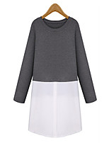 Women's Casual/Daily / Plus Size Vintage / Street chic Loose Dress,Color Block Round Neck Knee-length Long Sleeve Black / GrayRayon /