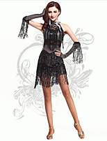 Latin Dance Women's Performance Spandex Fashion Bow Sequins / Tassel(s) Dresses