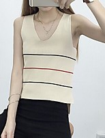 Women's Solid Red / White / Beige / Black Vest,Street chic Sleeveless