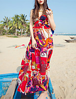 SINCE THEN Women's Sexy / Boho Floral Swing Dress,V Neck Maxi Polyester