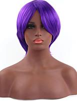 mode couleur pourpre courte longueur cosplay droite perruques synthétiques