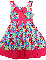 Girl's Colorful Sundress Bow Bohemia Beach Casual Baby Kids Clothing  Dresses