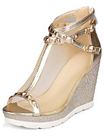 Women's Shoes Wedge Heel Peep Toe / Fashion Boots Boots Dress / Casual Silver / Gold