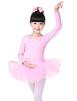 Ballet Dresses Children's Performance Cotton / Spandex Tiers 1 Piece Black / Pink  Long Sleeve