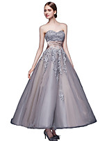Formal Evening Dress A-line Sweetheart Ankle-length Lace / Tulle / Charmeuse with Appliques / Sash / Ribbon