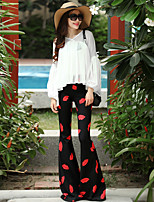 VERRAGEE® Women's High Rise Flare Black / Red Casual Pants-P301