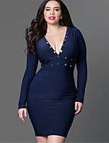 Women's Sexy / Simple Solid Bodycon / Sheath Dress,Deep V Above Knee Polyester
