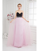 Formal Evening Dress Ball Gown Sweetheart Floor-length Tulle with Beading / Side Draping