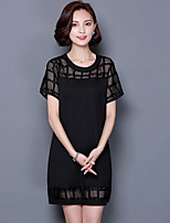 Women's Casual/Daily / Plus Size Vintage / Street chic T Shirt Dress,Solid Round Neck Above Knee Short Sleeve Black Polyester Summer