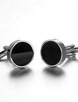 Men's Fashion Black Face Silver Alloy French Shirt Cufflinks (1-Pair)