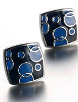 Men's Fashion Blue Print Silver Alloy French Shirt Cufflinks (1-Pair)