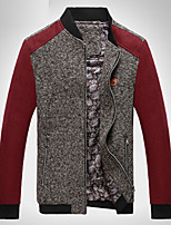 Men's Long Sleeve Jacket,Cotton / Acrylic / Polyester Casual Solid / Patchwork 916174