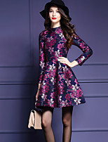 Women's Vintage Floral Plus Size / A Line Dress,Round Neck Above Knee Polyester