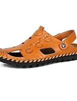 Sapatos Masculinos-Sandálias-Preto / Marrom-Napa Leather-Ar-Livre / Escritório & Trabalho / Social / Casual / Para Esporte