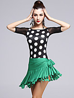 Latin Dance Dress Women's Performance Spandex / Tulle / Milk Fiber Tassel 2 Pieces Polka Dots