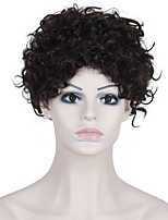 Short Afro Curly Wave Dark Brown Color Synthetic Wigs for Women