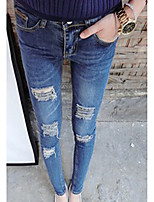 De las mujeres Pantalones Vaquero Microelástico-Algodón